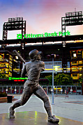Citizens Bank Park Digital Art Posters - Citizens Bank Park - Mike Schmidt Statue Poster by Bill Cannon