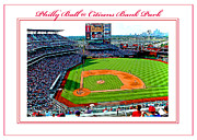 Phillies Digital Art Framed Prints - Citizens Bank Park Phillies Baseball Poster Image Framed Print by A Gurmankin