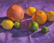 Fruit Still Life Pastels Framed Prints - Citrus on Purple Framed Print by Sarah Blumenschein