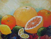 Grapefruit Painting Prints - Citrus Splash Print by Paris Wyatt Llanso