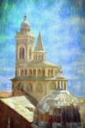 Rooftop Digital Art Prints - Citta Alta from Above Print by Jeff Kolker