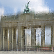 Stream Digital Art Posters - City-Art BERLIN Brandenburg Gate Poster by Melanie Viola