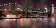 Evening Lights Posters - City-Art BROOKLYN BRIDGE Poster by Melanie Viola
