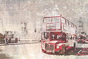 Houses Of Parliament Framed Prints - City-Art LONDON Red Buses II Framed Print by Melanie Viola