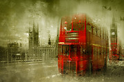 Old Houses Digital Art Framed Prints - City-Art LONDON Red Buses Framed Print by Melanie Viola