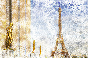 Paris Digital Art Posters - City-Art PARIS Eiffel Tower Poster by Melanie Viola