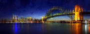 Yellow Bridge Digital Art Posters - City-Art SYDNEY Poster by Melanie Viola