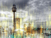 Australia Digital Art Prints - City-Art SYDNEY Rainfall Print by Melanie Viola