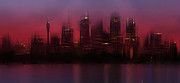 Shiny Digital Art Prints - City-Art SYDNEY Skyline Print by Melanie Viola