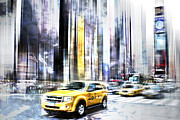 Cab Digital Art Framed Prints - City-Art TIMES SQUARE II Framed Print by Melanie Viola