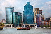 Sail Boats Prints - City - Baltimore MD - Harbor east  Print by Mike Savad