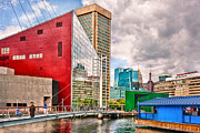 Red Buildings Framed Prints - City - Baltimore MD - Harbor Place - Future City  Framed Print by Mike Savad