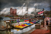 Light Gray Posters - City - Baltimore MD - Modern Maryland Poster by Mike Savad
