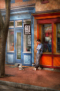 Service Dog Prints - City - Baltimore MD - Waiting by Joes bike shop  Print by Mike Savad