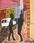Streetscape Paintings - City Boys by Michael Chatman