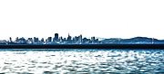 San Francisco Bay Mixed Media Posters - City By the Bay in Blue Poster by Shanna DuGrosse