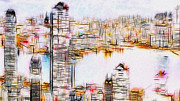 Urban Buildings Digital Art Prints - City By The Bay Print by Jack Zulli