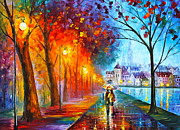 Original Oil Paintings - City By The Lake by Leonid Afremov