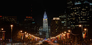 Benjamin Franklin Parkway Photos - City Hall at Night by Jennifer Lyon