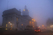 Kingston City Hall Framed Prints - City Hall in Fog Framed Print by Jim Vance