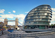 Glass Greeting Cards Prints Prints - City Hall - London Print by Kim Andelkovic