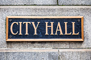 City Hall Framed Prints - City Hall Municipal Sign in Chicago Framed Print by Paul Velgos
