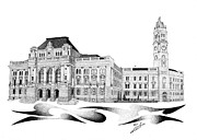 Hall Drawings Prints - City Hall Oradea Romania Print by Csaba Zsolt Szabo