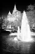 City Hall Framed Prints - City Hall Park Fountain 1990s Framed Print by John Rizzuto