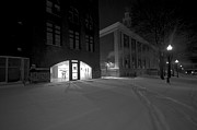 Snowy Night Night Photo Prints - City Hall Park Print by Mike Horvath