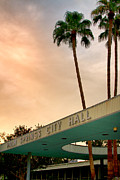 Grey Clouds Framed Prints - CITY HALL SKY Palm Springs City Hall Framed Print by William Dey