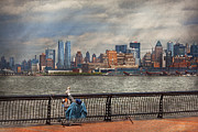 Railing Photo Prints - City - Hoboken NJ - Fishing - The good life  Print by Mike Savad