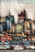 Stacked Prints - City - Hoboken NJ - New York Skyscrapers Print by Mike Savad