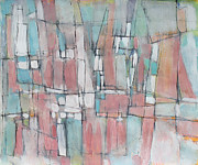 E Black Mixed Media Prints - City in Peach and Turquoise Print by Hari Thomas