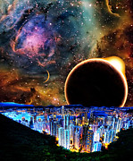 Interpretations Prints - City in Space Print by Bruce Iorio