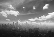 Black Top Framed Prints - City in the fog Framed Print by Setsiri Silapasuwanchai