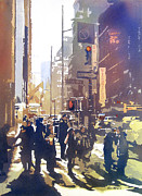 Artist Watercolor Prints - City Light Print by Kris Parins