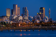 Sydney Skyline Digital Art Prints - city lights and blue hour at Tel Aviv Print by Ron Shoshani