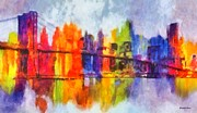 City Scape Paintings - City Lights by Elizabeth Coats