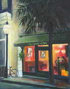 Night Scenes Painting Originals - City Lights on Market St. by Pamela Poole
