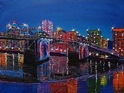 City Of Bridges Painting Posters - City Lights Over Morrison Bridge 4 Poster by James Dunbar