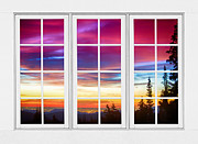 Picture Window Frame Photos Art - City Lights Sunrise View Through White Window Frame by James Bo Insogna