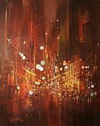 City Night Scene Paintings - City Lights by Tom Shropshire