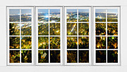 Office Space Prints - City Lights White Window Frame View Print by James Bo Insogna