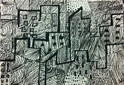 Skylines Drawings Originals - City Line ACEO by Ashley Grebe