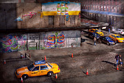 Taxis Prints - City - New York - Greenwich Village - Lifes color Print by Mike Savad