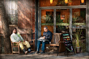 Benches Art - City - New York - Greenwich Village - The path cafe  by Mike Savad
