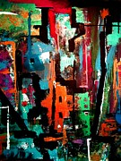Manhatten Mixed Media Prints - City Nights Print by David Rogers