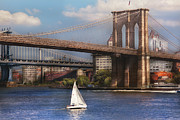 New York City Landscape Posters - City - NY - Sailing under the Brooklyn Bridge Poster by Mike Savad
