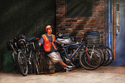 Bicyclists Prints - City - NY - Waiting for the next delivery Print by Mike Savad