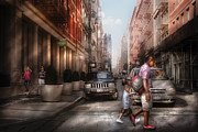 Old Street Metal Prints - City - NY - Walking down Mercer Street Metal Print by Mike Savad